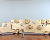 Wooden Toy Semi-Trailer Car Mover Vehicle
