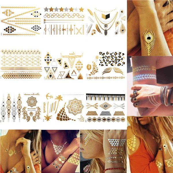 1 Sheet Temporary Metallic Tattoo Gold Silver Black Flash Tattoos Flash Inspired #Unbrand