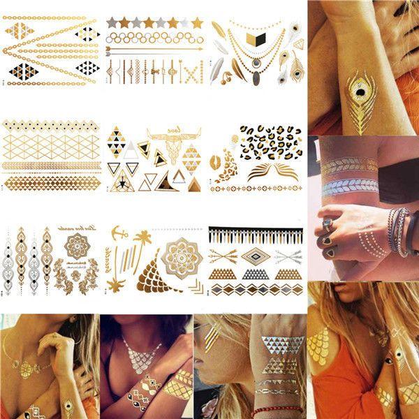 1 Sheet Temporary Metallic Tattoo Gold Silver Black Flash Tattoos Flash Inspired #Unbrand