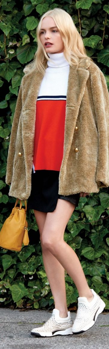 Who made  Kate Bosworth's red sweater, tan coat, and skirt?