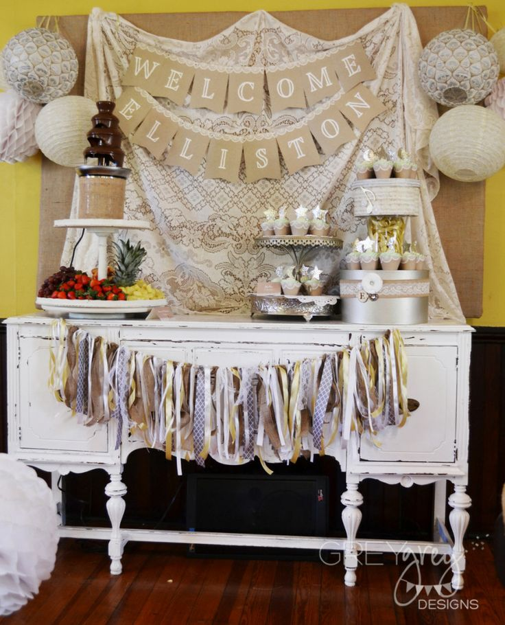 Lullaby and Goodnight Baby Shower - love the shabby chic look of this sweets table!: Shower Ideas, Boy Baby Showers, Shabby Chic, Goodnight Baby, Parties Ideas, Laser Beams, Baby Boy, Boys Baby, Baby Shower