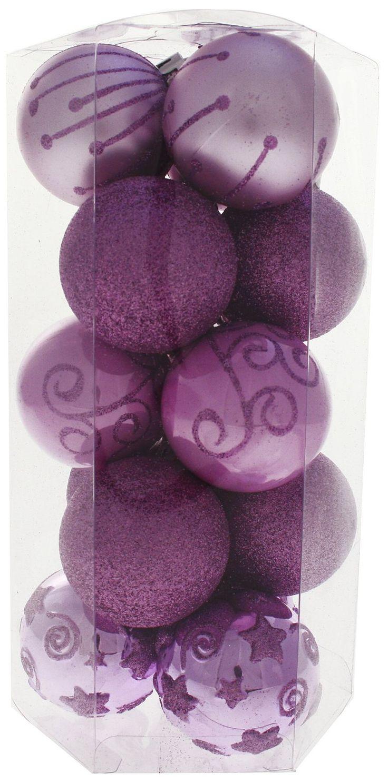 WeRChristmas 15 Piece Shatterproof Plastic Deluxe Christmas Tree Baubles  Decoration Pack, Purple/ Pink