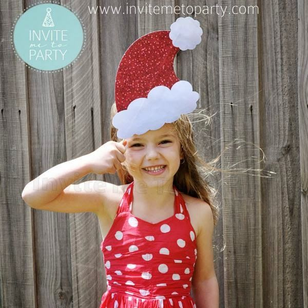Mrs Claus Santa Hat Printable Photo Prop  Invite Me To Party: Christmas Photo Booth Props
