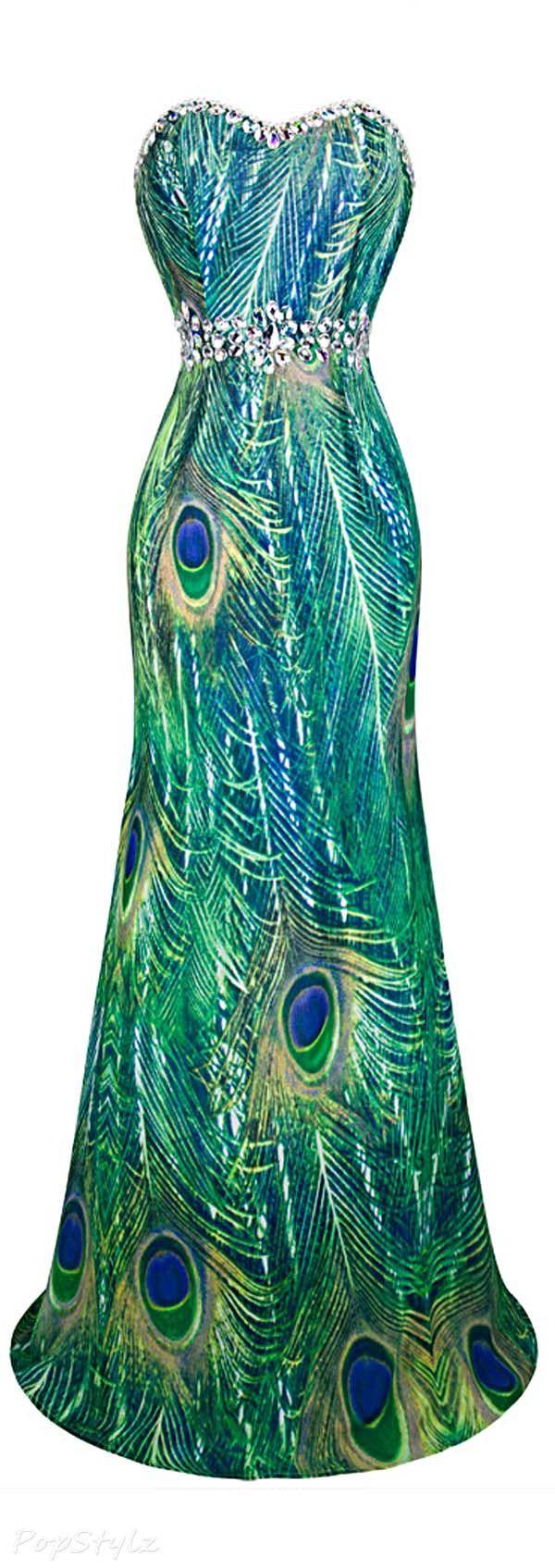 Angel-fashions Rhinestone Peacock Evening Dress jaglady