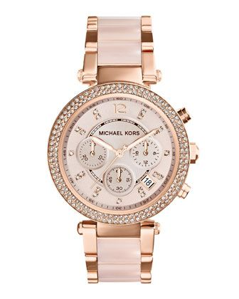 Mid-Size Rose Golden Stainless Steel Parker Chronograph Glitz Watch at CUSP. band looks ceramic, and either pale pink or beige :)