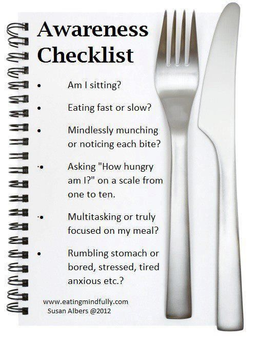 TIP:  quick & easy check list to mindful eating, post it in your kitchen, learn more helpful tips www.vegoutwithlinda.com