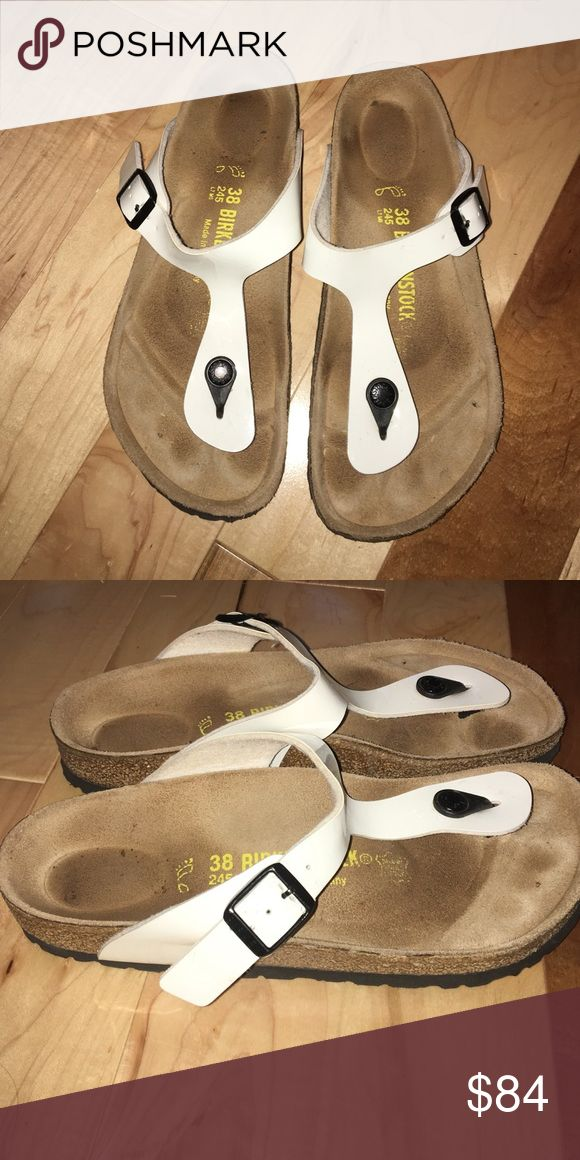 White Birkenstocks, Size 38, worn twice. White and black. Gizeah style. Birkenstock Shoes Sandals