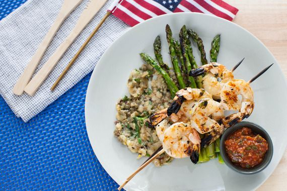 Grilled Shrimp Cocktail with Eggplant Caponata & Asparagus. Visit http ...