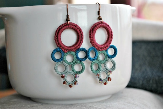 Beaded Crochet Earrings Lightweight Jewelry by LavenderField, $36.00
