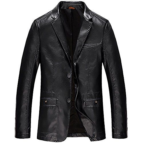 Moin Herren Vintage PU-Leder Jacke Kunst Lederjacke Anzugjacke Sakko…
