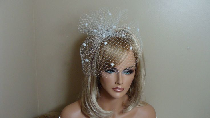 White Chenille Dot Birdcage Veil with Bow Bridal Veil