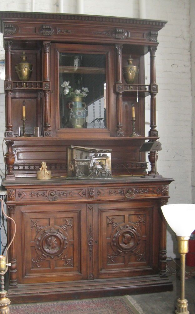 Antique 1800 S Breakfront Belgium Hand Carved Walnut 8