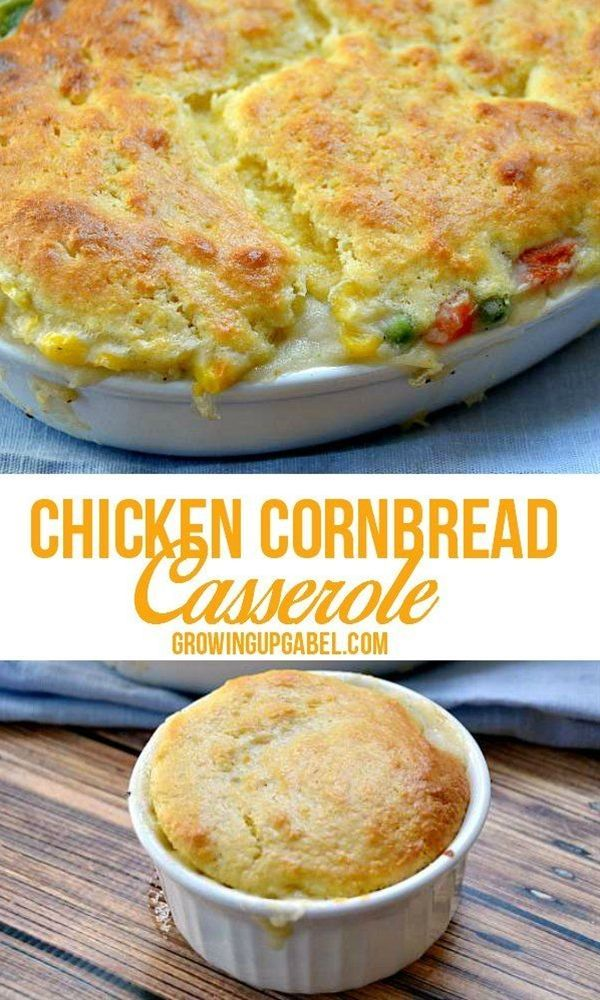 Need an easy dinner recipe? Use a homemade chicken pot pie filling and top with an easy cornbread topping for a delicious casserole dinner!nn  Ing