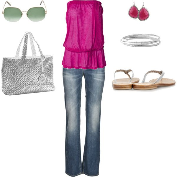 Silver Pink Casual Jeans Outfit, created by ggdesigns on Polyvore