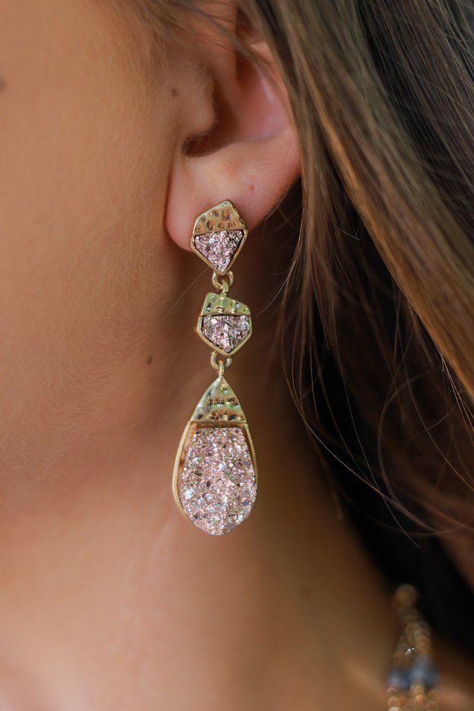Blush Druzy Drop Pendant Earrings