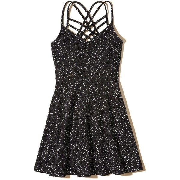 Hollister Strappy Knit Skater Dress (4365 DZD) via Polyvore featuring dresses, black stars, starry dress, strap dress, strappy skater dress, hollister co dresses and strappy dress