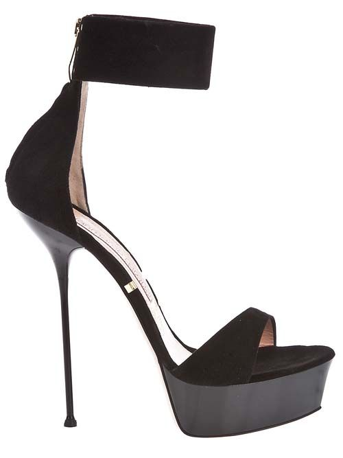 That heel. I'm up for the challenge of staying vertical.  Gianmarco Lorenzi Black Platform Stiletto High Heel Sandal