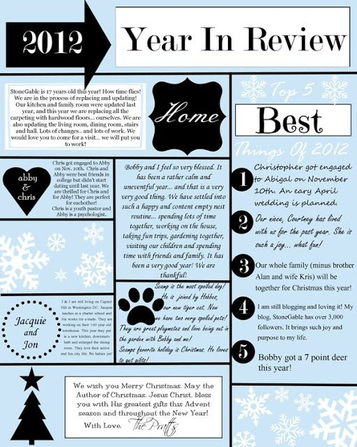StoneGable: A YEAR IN REVIEW CHRISTMAS LETTER AND TEMPLATE