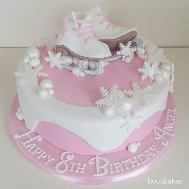 Pink and white  ice skating theme cake