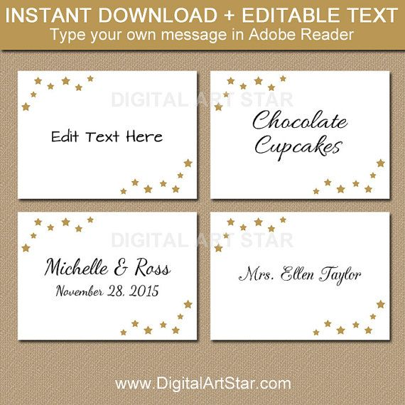 Classic elegance. Use these beautiful labels with gold stars for your bridal shower, wedding reception, Christmas party, or other elegant event. Personalize these editable templates yourself by typing over my text in Adobe Reader. Easily change the words. Perfect for when you need