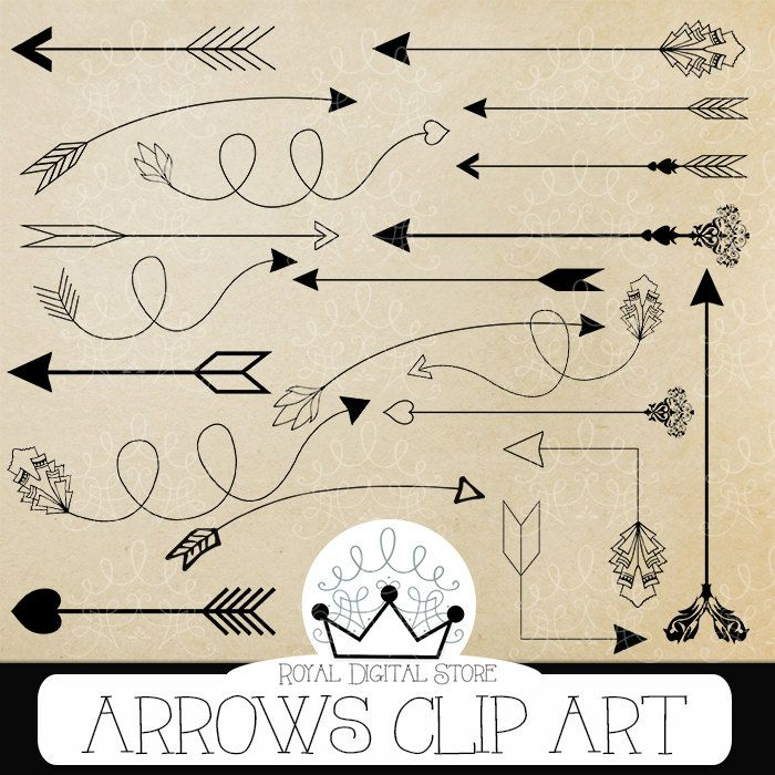 "Arrows Clip Art: "" ARROWS CLIP ART"" with #arrows #clipart, hand drawn arrows, digital arrow, arrow clipart for scrapbooking #black #digitalpaper #tribal #scrapbookpaper #planner"
