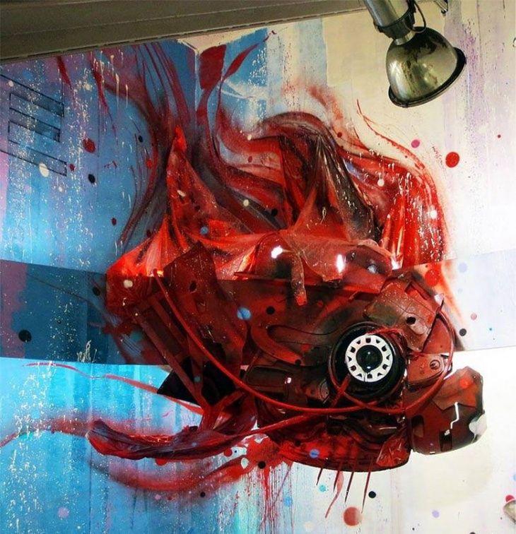 3D стрит-арт Artur Bordalo / Городская среда (граффити, снеговики, ets) / Своими руками - выкройки, переделка одежды, декор интерьера своими руками - от ВТОРАЯ УЛИЦА
