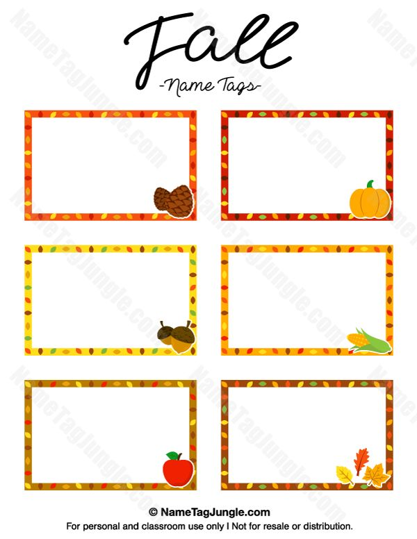 Free printable fall name tags. The template can also be used for creating items like labels and place cards. Download the PDF at http://nametagjungle.com/name-tag/fall/