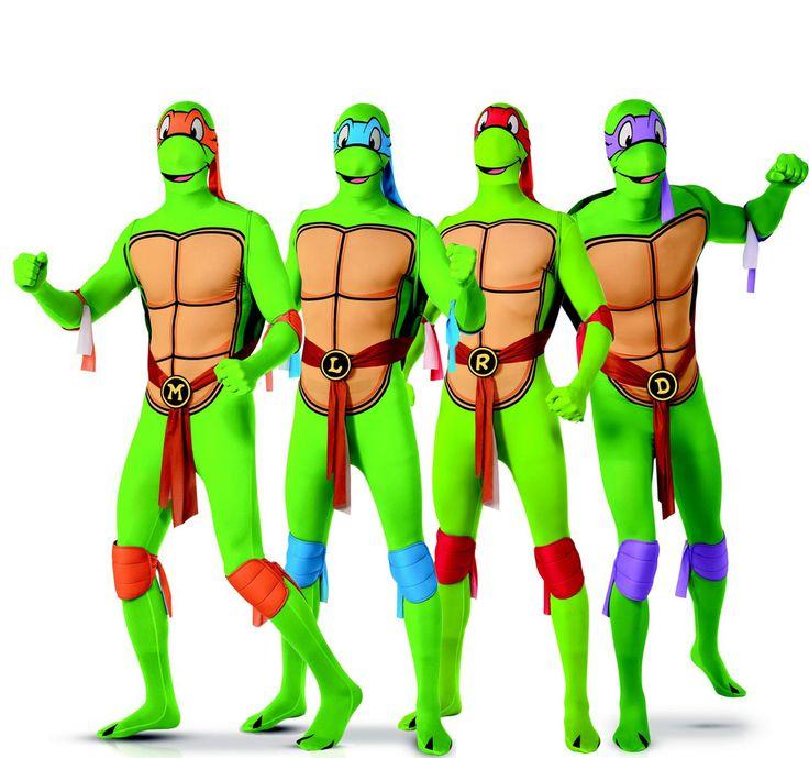 Déguisement de groupe Tortues Ninja™ seconde peau adultes : Ce déguisement de groupe est sous licence officielle Tortues Ninja™. Chaque costume est composé d'une combinaison, de protèges genoux et coudes et d'une...