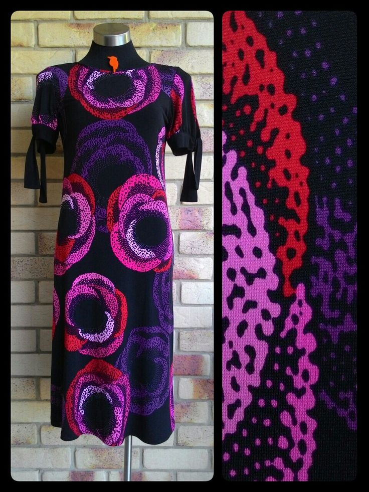 Leona Edmiston * Red dot Leona label * pointillism graphical roses in purple, pink and fuschia on black, A Line dress with short tie sleeves.