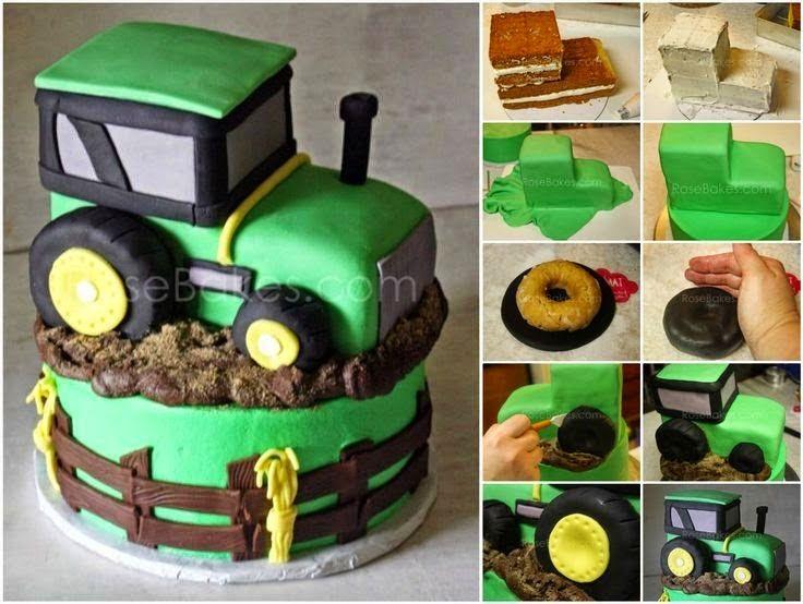 como fazer bolo trator sítio fazenda pasta americana