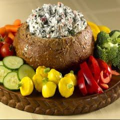 creamy spinach dip in breadbowl - made with Knorr vegetable soupmix--classic