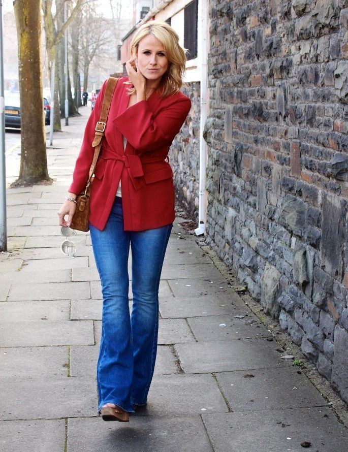 Beautiful red belted jacket from H