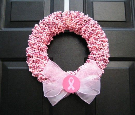 10 Breast Cancer Fundraising Ideas That Work: A pink wreath that can be sold in a silent auction or craft fair