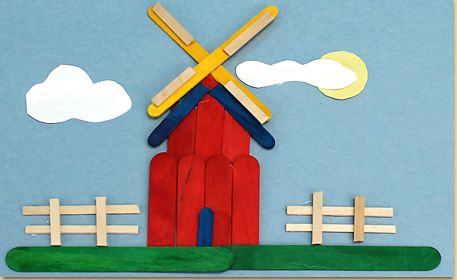 Use colorful wooden sticks to create a picture of a windmill in a field. Use your imagination and combine many of the different size and colored wooden sticks to make your own scenes.