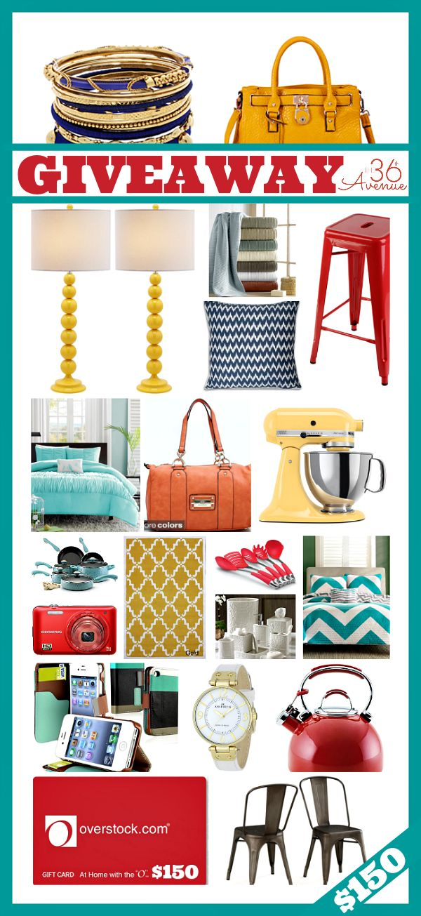 Win $150 Overstock GIFT CARD at the36thavenue.com… Click on the image and visit the blog to ENTER to Win NOW!!!!!