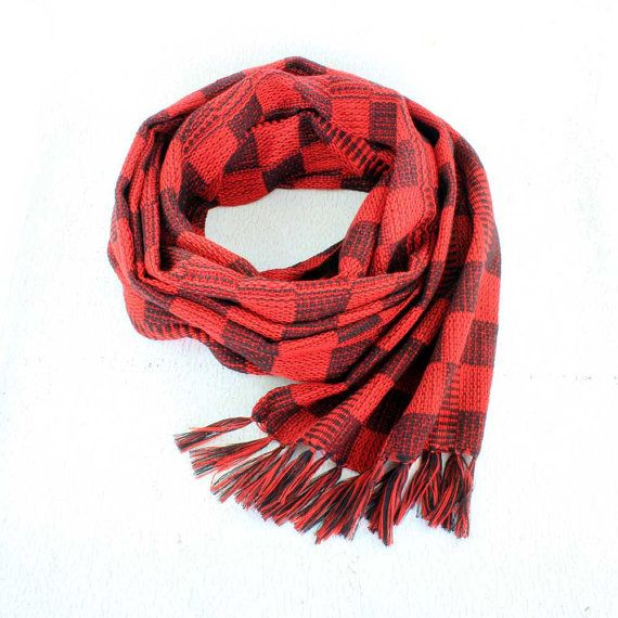 Red Plaid Scarf  Hand Woven Scarf  Red and Black Plaid Scarfhttps://www.etsy.com/listing/241478945/red-plaid-scarf-hand-woven-scarf-red-and