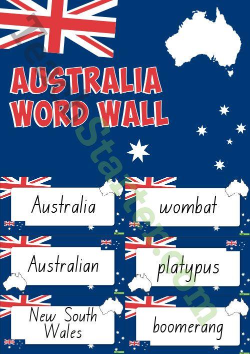 Australia Themed Word Wall Teaching Resource