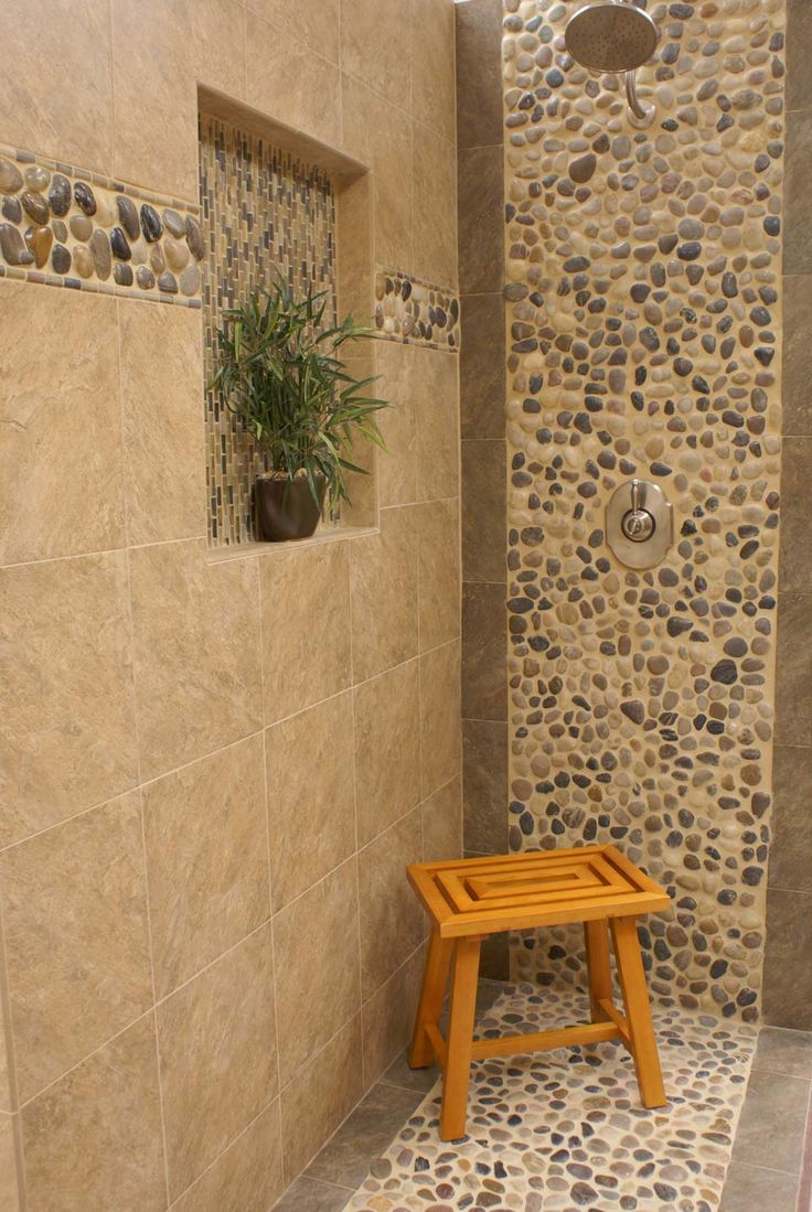 River Rock Bathroom Ideas Onmaster Bathroom