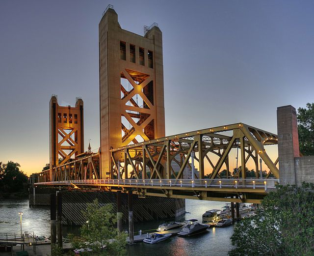 The Tower Bridge is a vertical lift bridge across the Sacramento River, linking West Sacramento in Yolo County to the west, with the capital of California, Sacramento, in Sacramento County to the east. The bridge is yet maintained by the California Department of Transportation as part of State Route 275, and connects West Capitol Avenue and Tower Bridge Gateway in West Sacramento with the Capitol Mall in Sacramento.