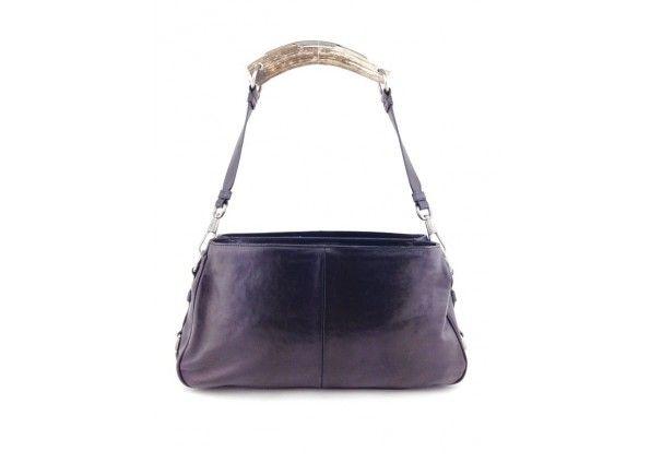 Yves Saint Laurent YSL Black Leather Mombasa Horn Satchel Bag ...