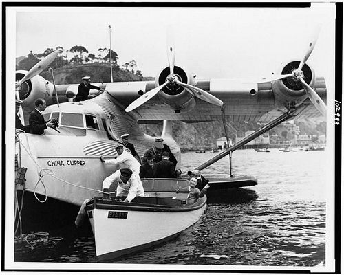 "Glenn Martin debarking ""China Clipper"" for 25th anniversary of his flight to Catalina 