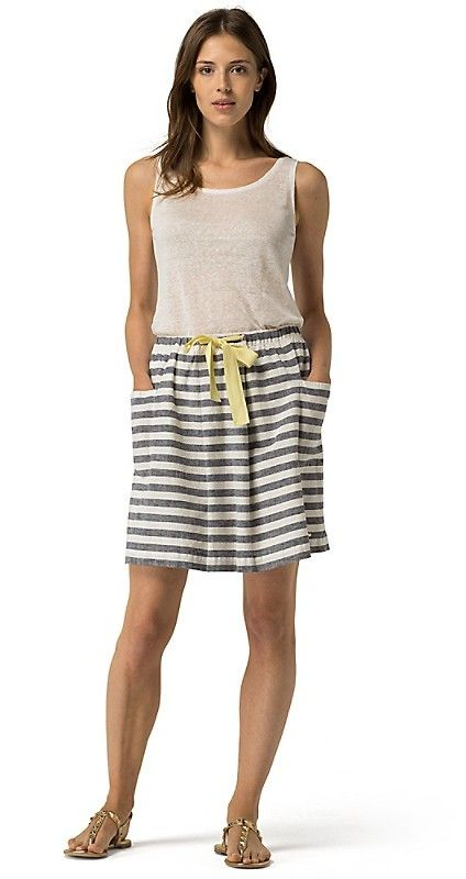 Tommy Hilfiger Linen Stripe Skirt