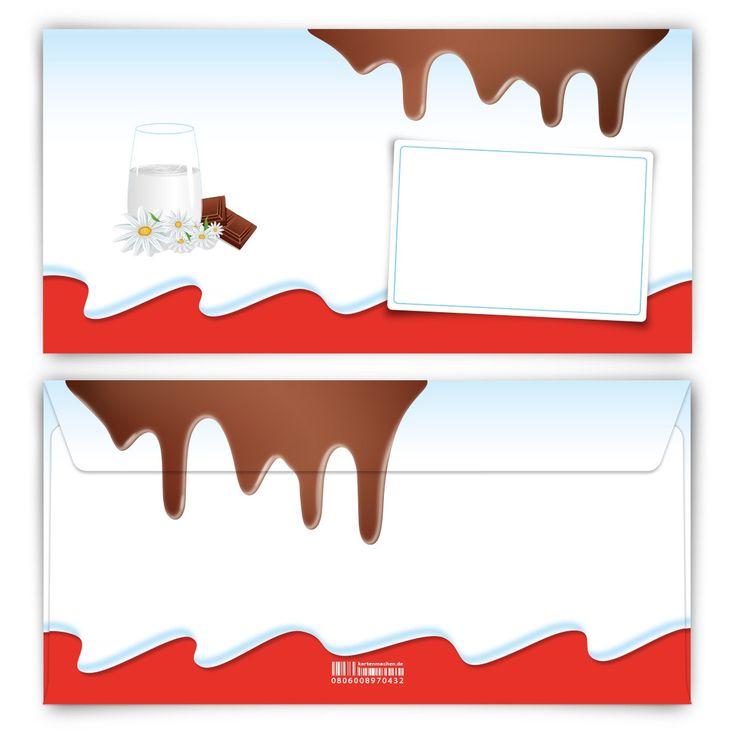 Lecker Schoki! <3 (Briefumschlag, DIN Lang quer) #briefumschlag #kinderschokolade #papeterie #kreativ #schokolade #kinder