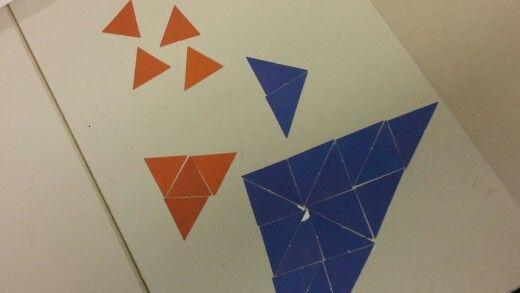 Tehdään mahdollisimman monta erilaista kolmioita ruskeista tai sinisistä pahvipaloista (jos ope on köyhä)