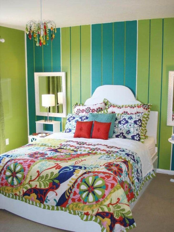 Bedrooms Cool Light Green And Turquoise Bohemian Style Bedroom Decor With Chic Chandelier And Floral Pattern - pictures, photos, images