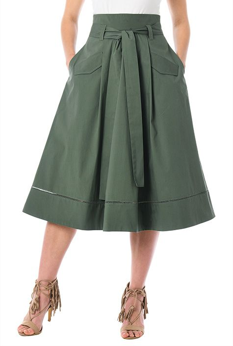 Cotton poplin sash tie skirt #eShakti