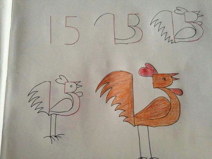 Kids drawing with numbers