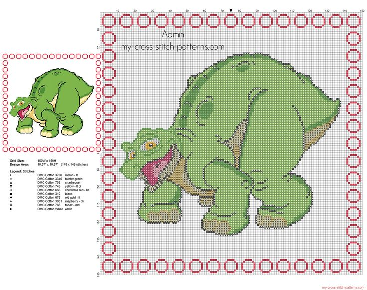 Cross stitch children baby pillow with Spike dinosaur from The Land Before Time cartoon