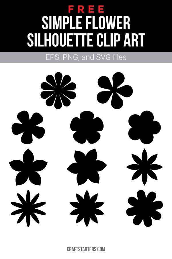 Free Simple Flower Silhouette Clip Art Flower Silhouette Silhouette Clip Art Simple Flower Design