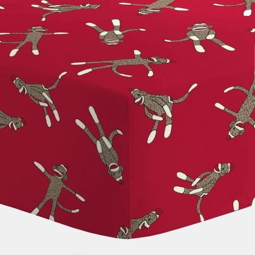 Red Sock Monkey Crib Sheet | Carousel Designs 500x500 image